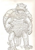 Gamera with Dog Peeing on Him Commission - Signed  Comic Art