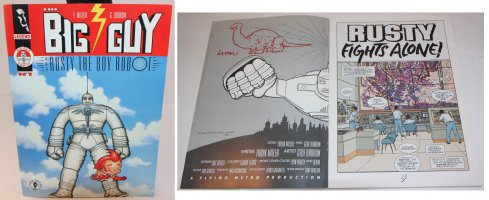 Big Guy and Rusty the Boy Robot #1 - With a Sketch on the Inside Cover by the Artist - 1995 Signed Comic Art