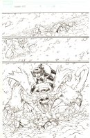 Avengers: Earth's Mightiest Heroes #3 p.20 - Wasp with Captain America Shield vs. Wendigo - 2011 Comic Art