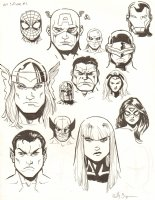 Avengers Vs. X-Men: Infinite #3 Digital Comic Page - Composite Portraits - 2012 Signed Comic Art