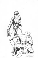 Black Widow and Daredevil Commission - Signed Comic Art