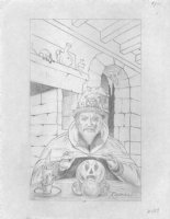 The Face in the Frost  Pencil Cover Prelim - Wizard and Crystal Ball - Signed Comic Art