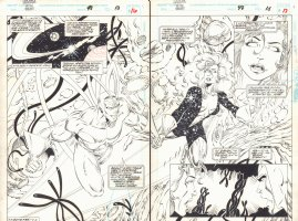 Guardians of the Galaxy #48 pgs. 16 & 17 - Starhawk and Aleta Ogord Flying DPS - 1994  Comic Art