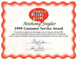 Comic Buyer's Guide 1999 Customer Service Award